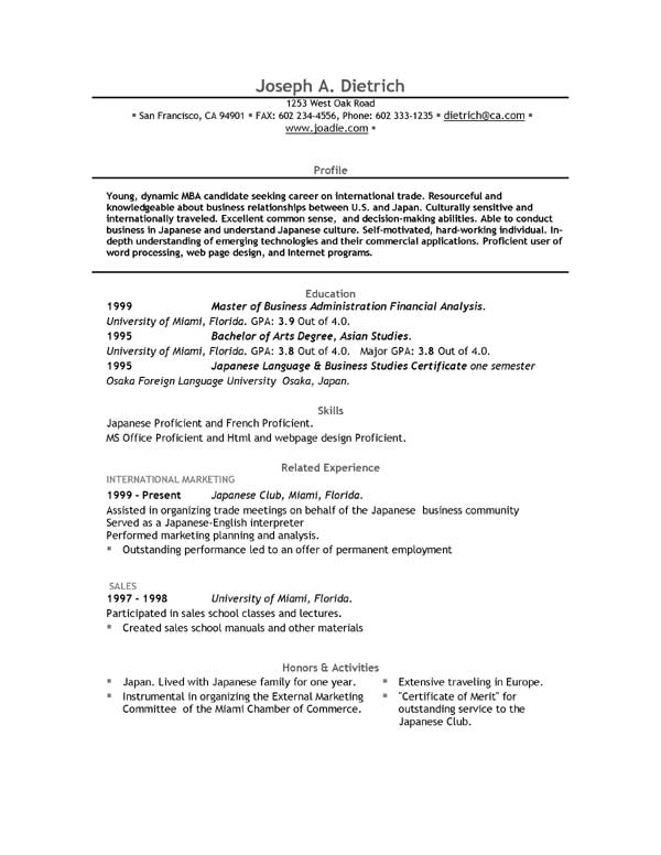 job specific resume examples download free templates word samples