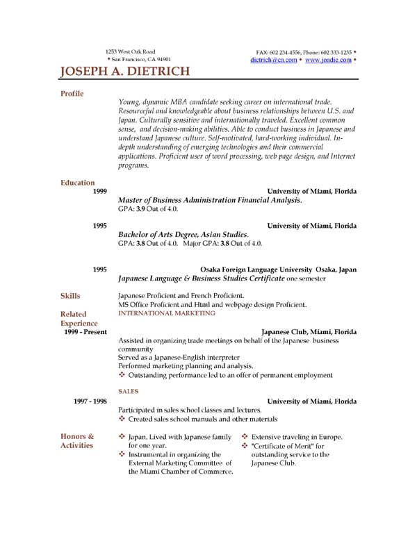 Sample Resume Free Download  CityEsporaCo