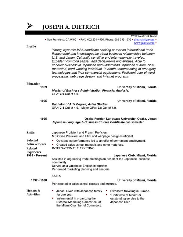Free Resume Template Microsoft Word Word Templates For Resumes
