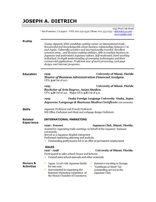 download resume templates for free - Download A Resume For Free