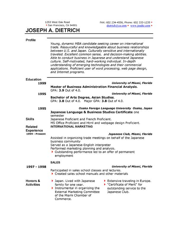 curriculum vitae samples word format