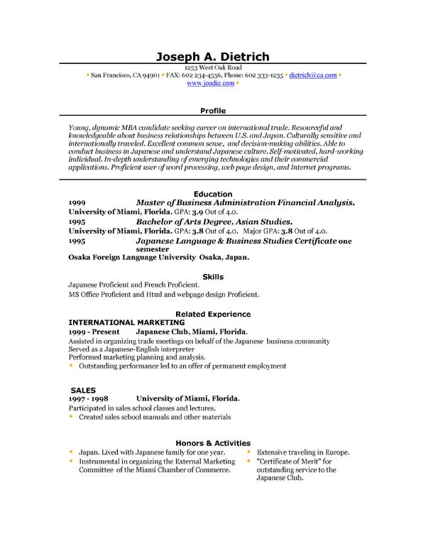 free download resume templates for microsoft word - Download A Resume For Free