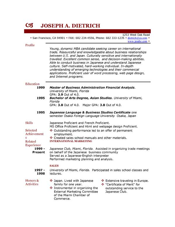 Resume free samples download