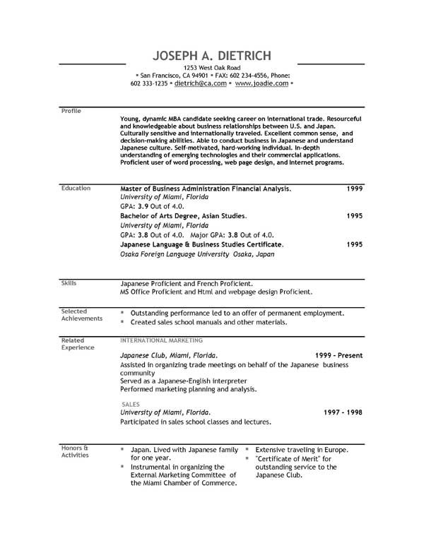 Student Resume Template Word Resume Format Download Pdf With