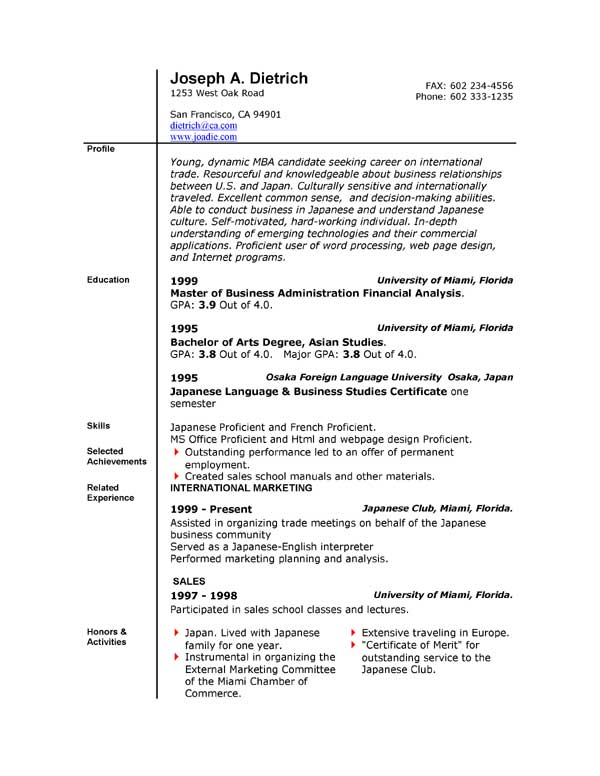free resume sample in word format
