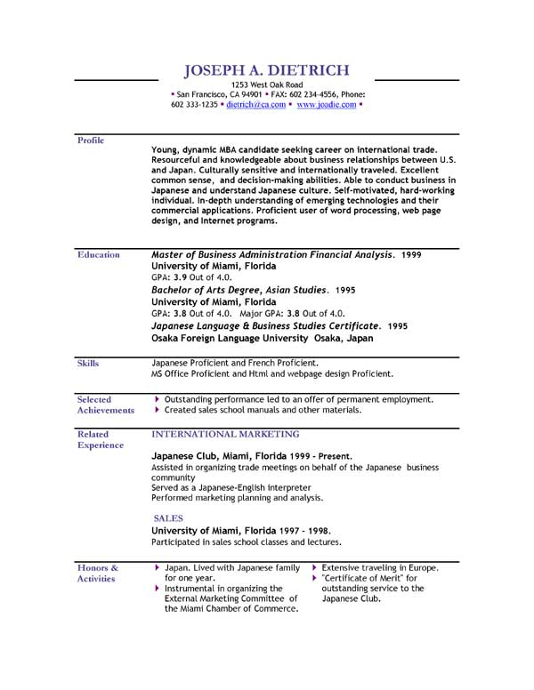 Resume Example Free Download  PetitComingoutpolyCo