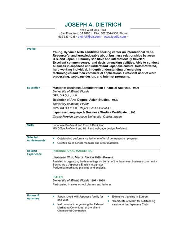 Sample Resume Downloads