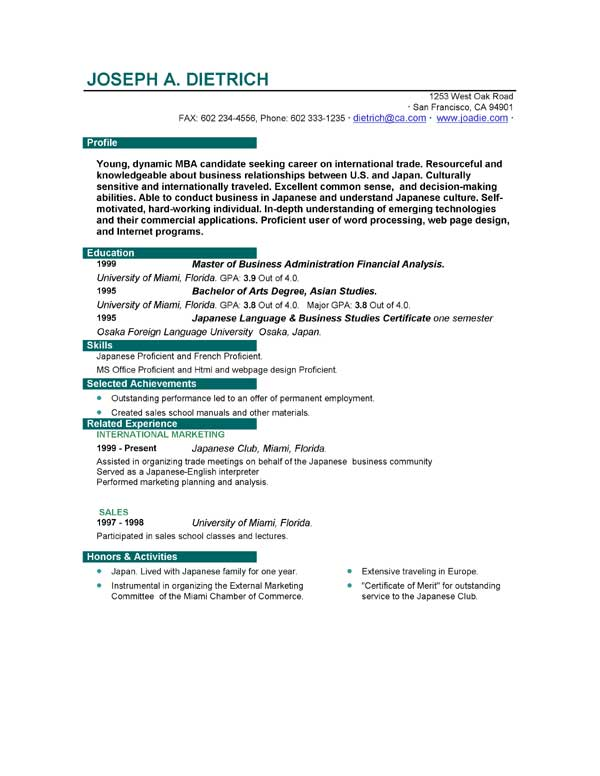 resume templates to download employment