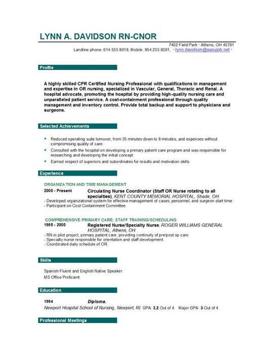 Free Nursing Resume Sample  Nursing Skills For Resume