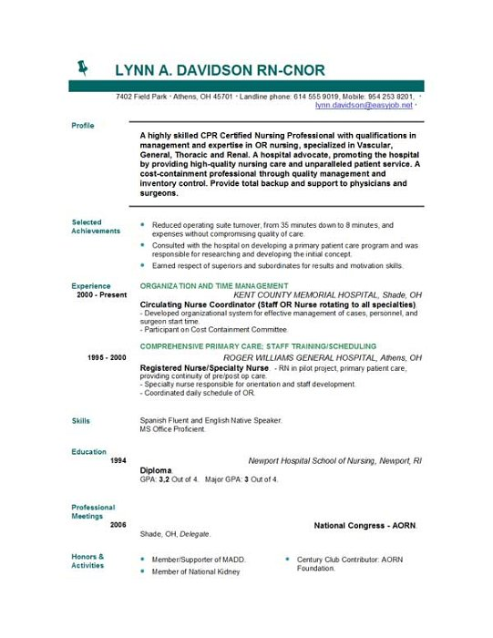 free nursing resume template - Free Nurse Resume Template