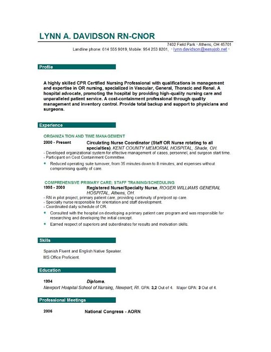 free nursing resume - Professional Nurse Resume Template