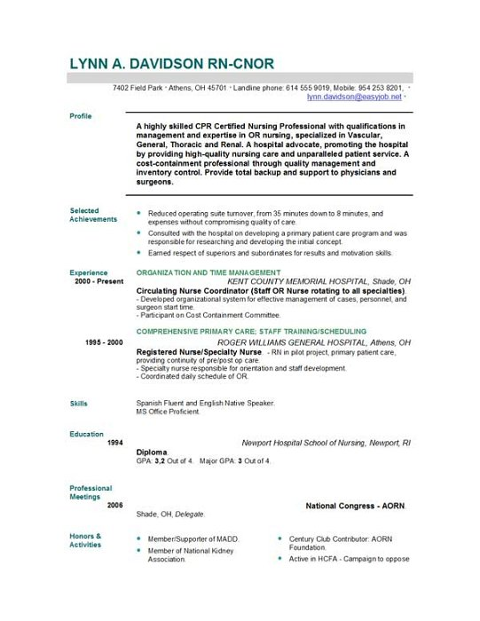nurse resume sample free download registered