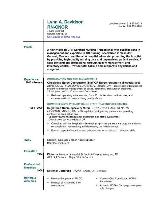 Free Registered Nurse Resume Templates  Sample Resume And Free