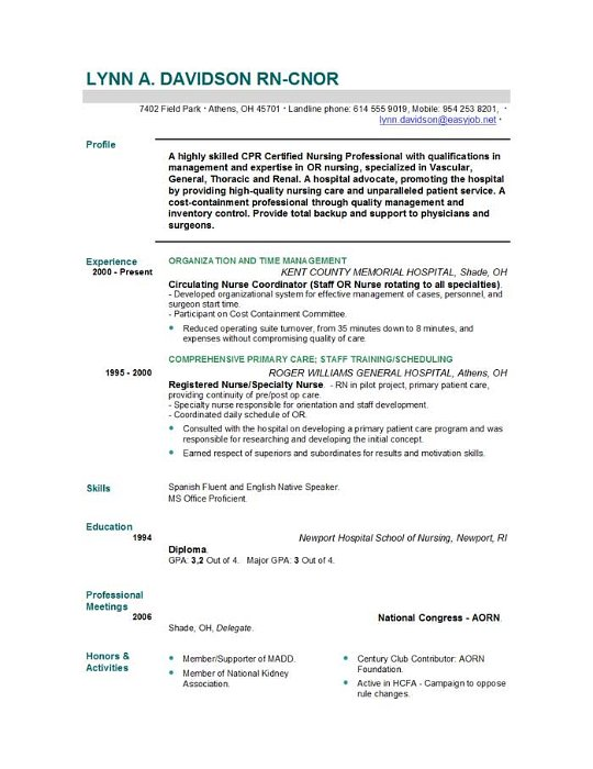 Resume For Nurses Templates  BesikEightyCo