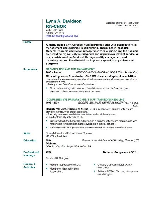 Entry Level Nurse Resume Sample   Download this resume sample to use as a  template for writing your own resume  Free resource from resumegenius com