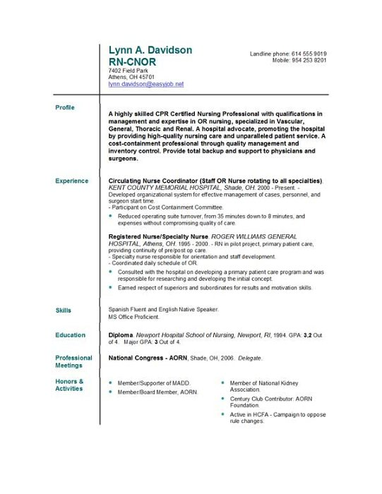Help Nursing Resume