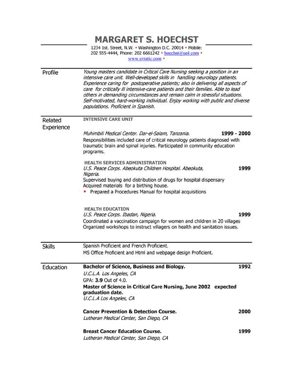 resume examples example of resume by easyjob the best free - Examples Of Resumes