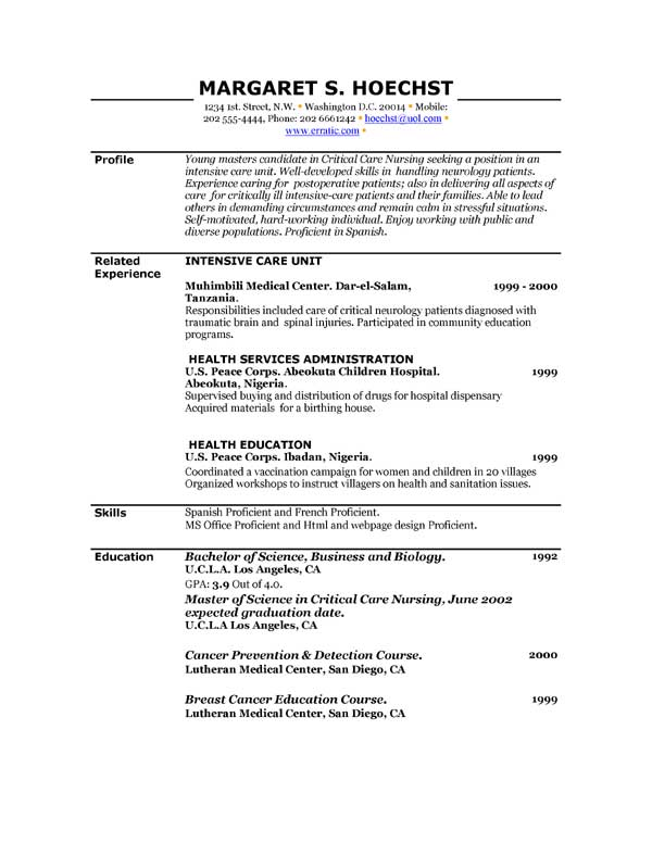 Printable Examples Of Resumes - Template