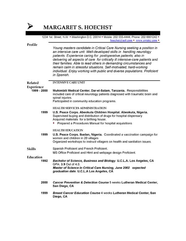 resume unfinished degree example !