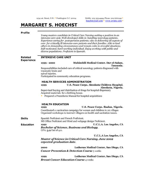 Resume Examples Template | Resume Format Download Pdf