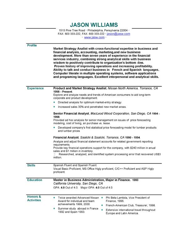Long and consistent sle resume formats