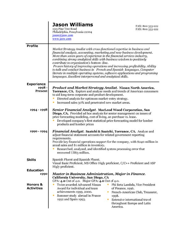 Sample Resume Templates – Resume Format Template Free Download