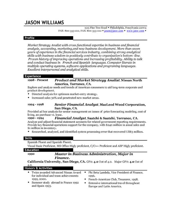 best sample resume format