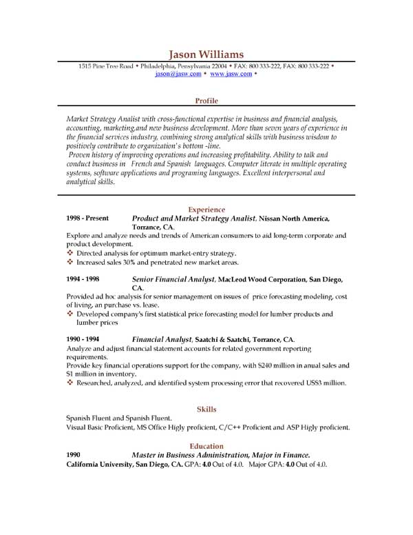 download sample resume format