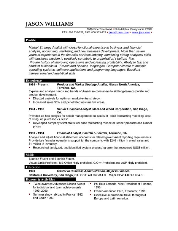 examples of professional resumes marketing resume format sample 21620 | professional resume sample format