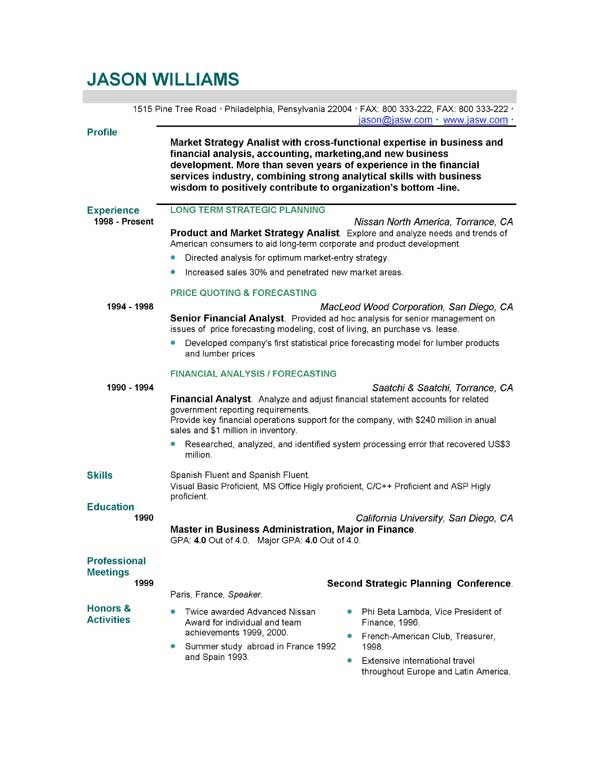 resume outline examples