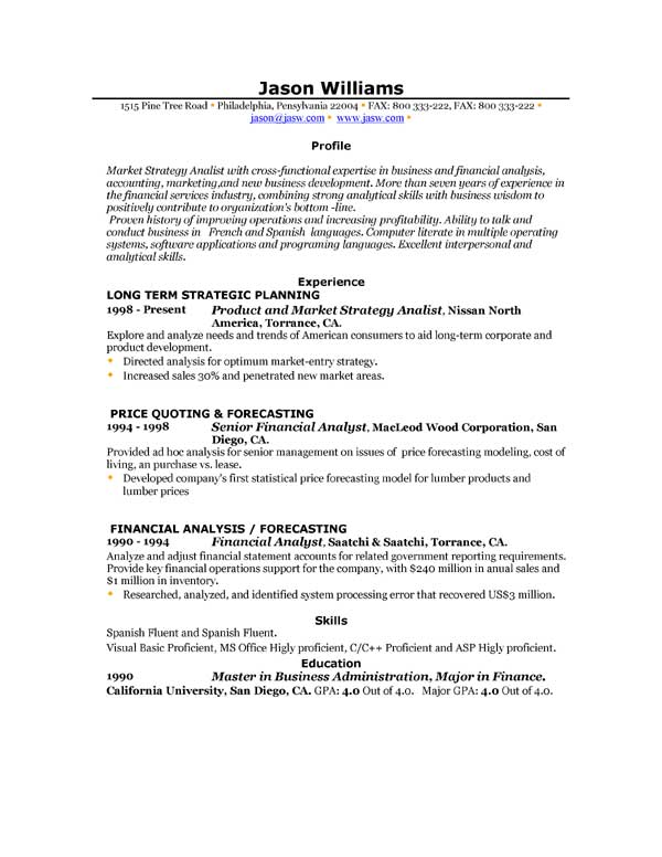 Resume Examples Sample Resume Profile Statements With Professional ...