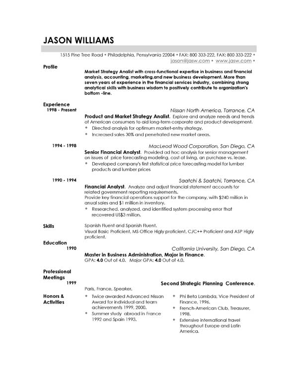 sample resume template - Professional Resume Samples Free