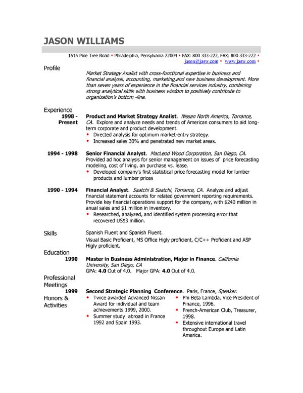 Good Resume Profile Examples] Example Good Resume Template Job