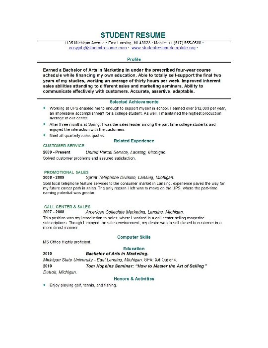 resumes for college students internships internship resume