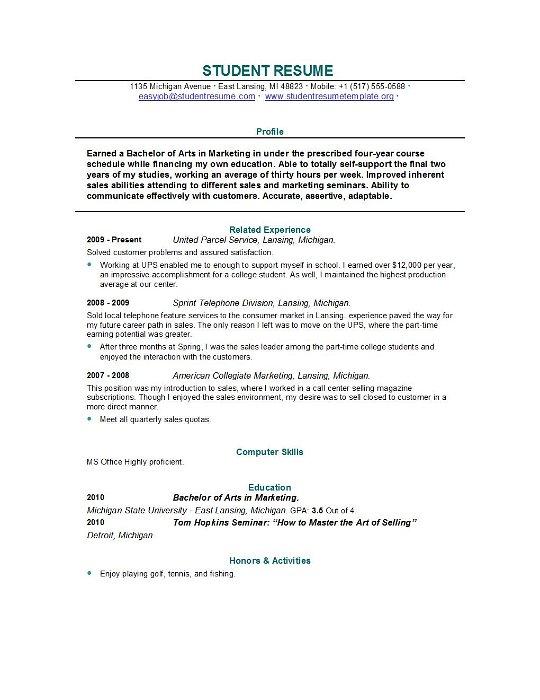 Student Resume Templates Student Resume Template