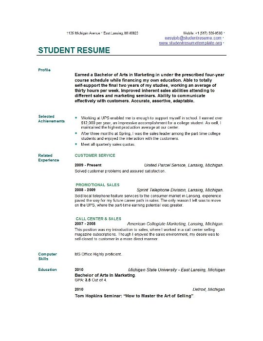 College Student Resume Example resume templates for students – Resume for College Template