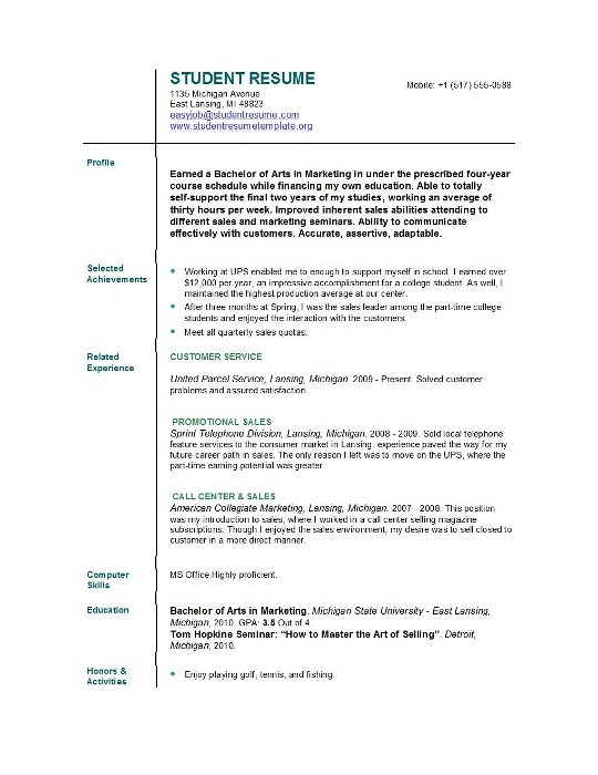 Resume Examples For College Students Jobresumeweb College Student
