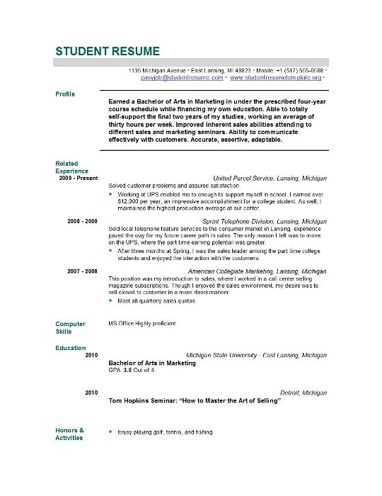 Example Graduate Resume School