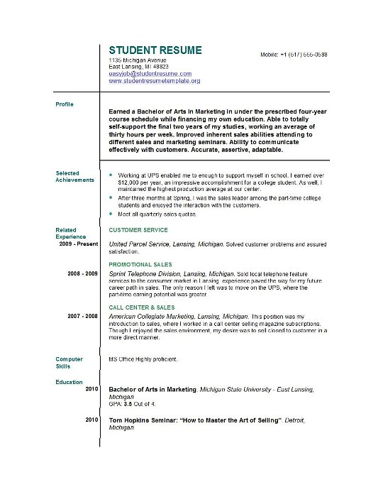 Resume Examples For First Job First Time Resume Templates  Best