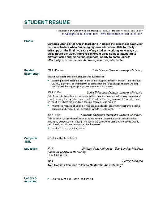New Grad Resume Template  CityEsporaCo