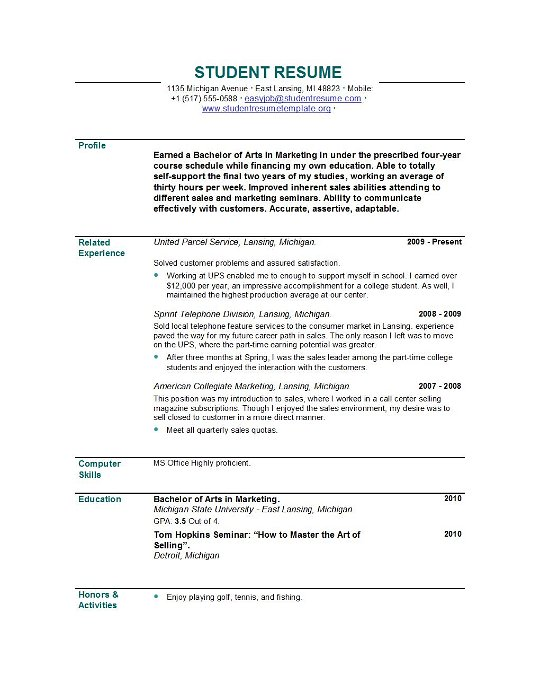 student resume template sample student resume 24992