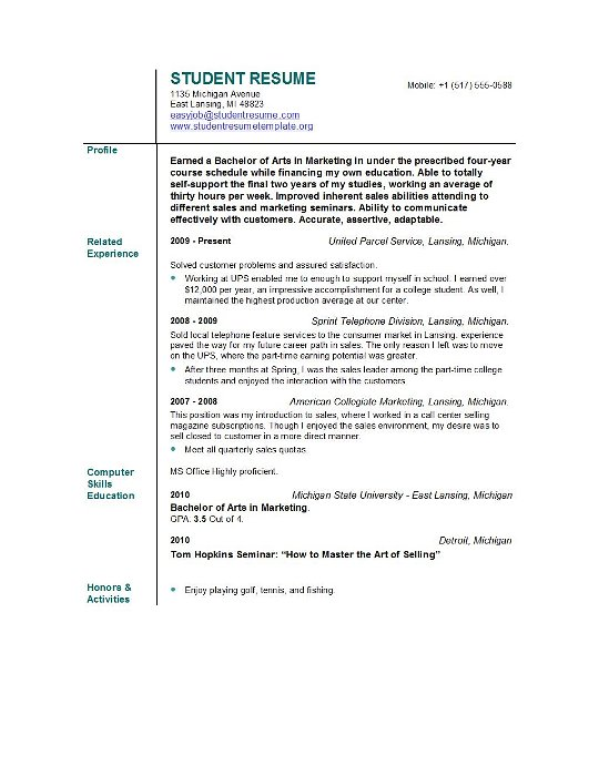 Resume Profile Examples For Students] For Student Resume Template