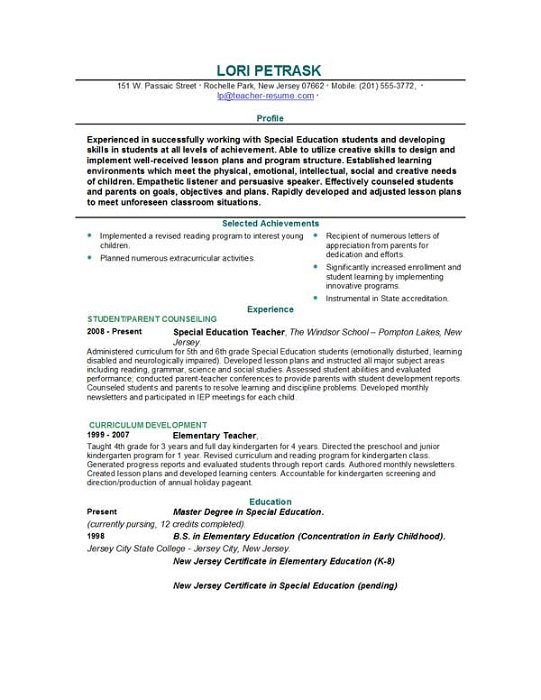 Sample Resume Of Teacher Model Resume For Teaching Profession