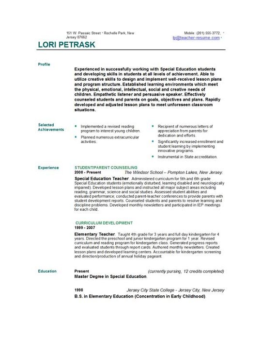 154171 328X425 New Teacher Resume Thumb Employment Education