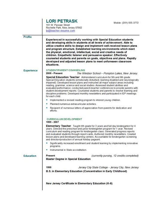 elementary education resume sample