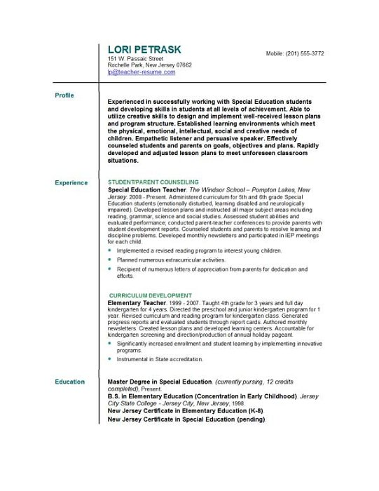 resume format for teacher teachers best resume