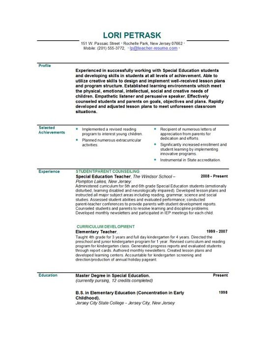 teacher resume template free teaching resume format for fresher ...