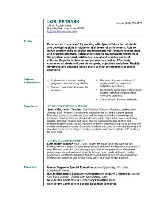 Teaching resume help