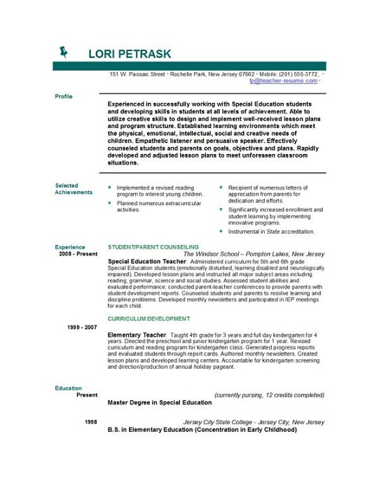 Teacher Resume Objective