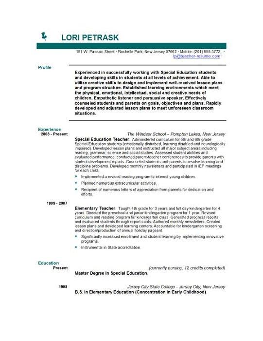 Doc.#585690: Teacher Resume Samples In Word Format – 51 Teacher
